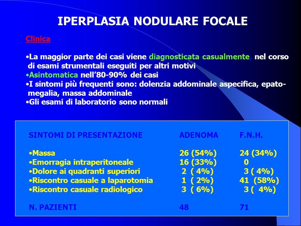 IPERPLASIA NODULARE FOCALE Clinica: La maggior parte dei casi viene diagnosticata casualmente, nel corso di esami strumentali eseguiti per altri motiv