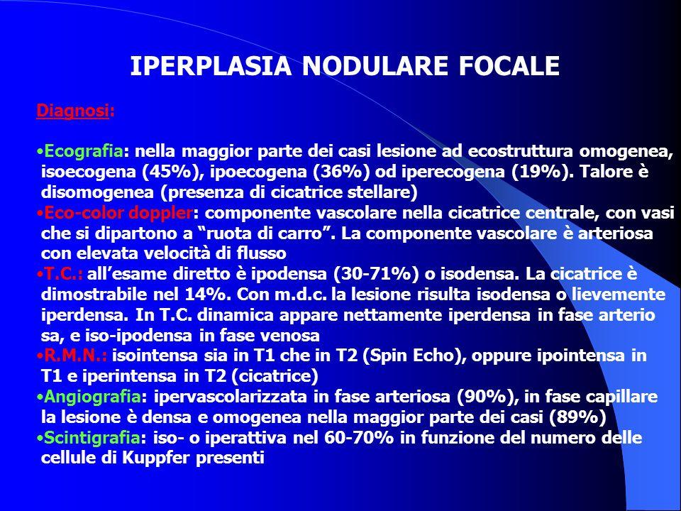 IPERPLASIA NODULARE FOCALE Diagnosi: Ecografia: nella maggior parte dei casi lesione ad ecostruttura omogenea, isoecogena (45%), ipoecogena (36%) od i