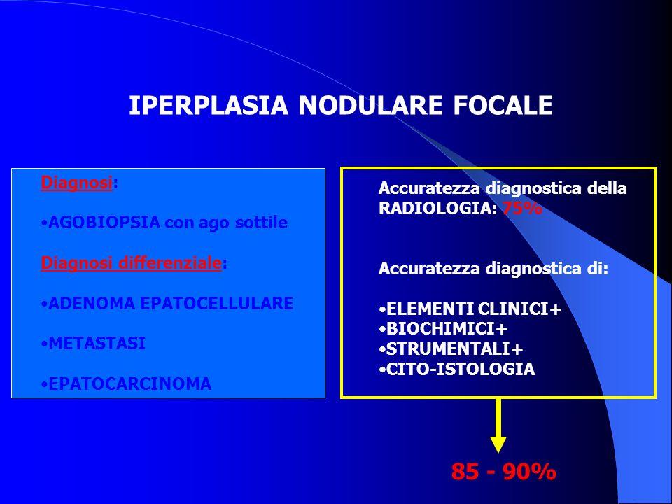 IPERPLASIA NODULARE FOCALE Diagnosi: AGOBIOPSIA con ago sottile Diagnosi differenziale: ADENOMA EPATOCELLULARE METASTASI EPATOCARCINOMA Accuratezza di