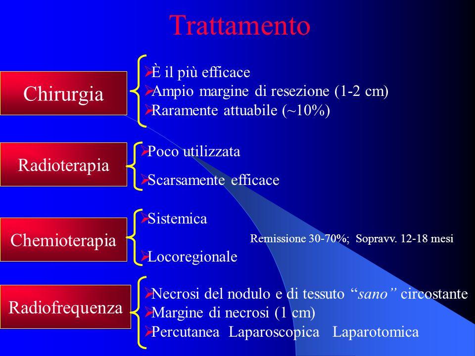 Trattamento Chirurgia Chemioterapia Radioterapia Radiofrequenza È il più efficace Ampio margine di resezione (1-2 cm) Raramente attuabile (~10%) Siste