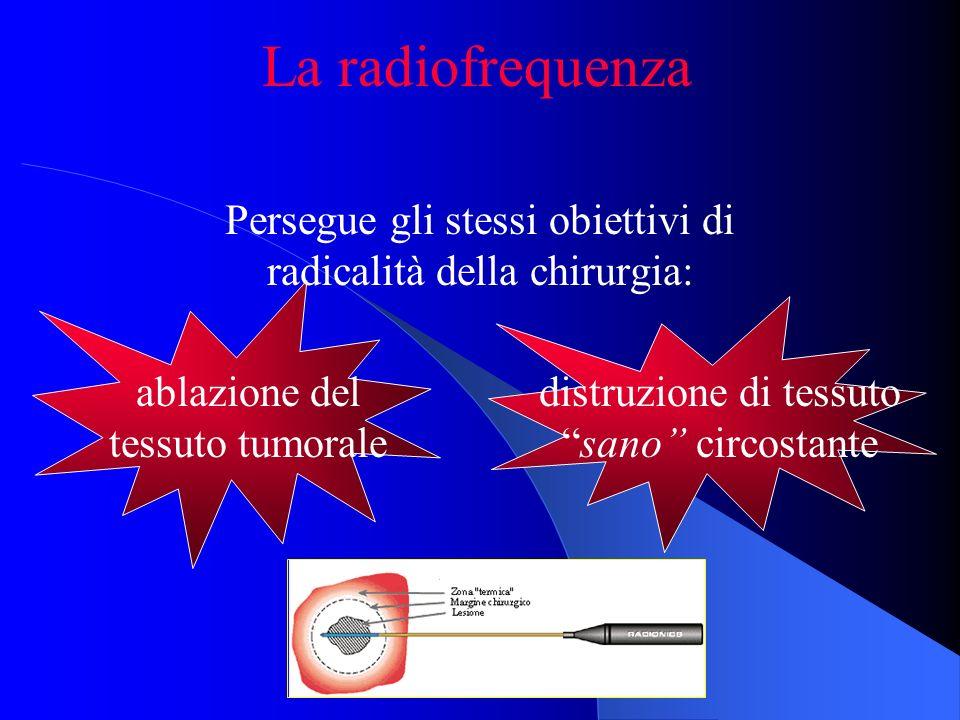 La radiofrequenza Persegue gli stessi obiettivi di radicalità della chirurgia: ablazione del tessuto tumorale distruzione di tessutosano circostante
