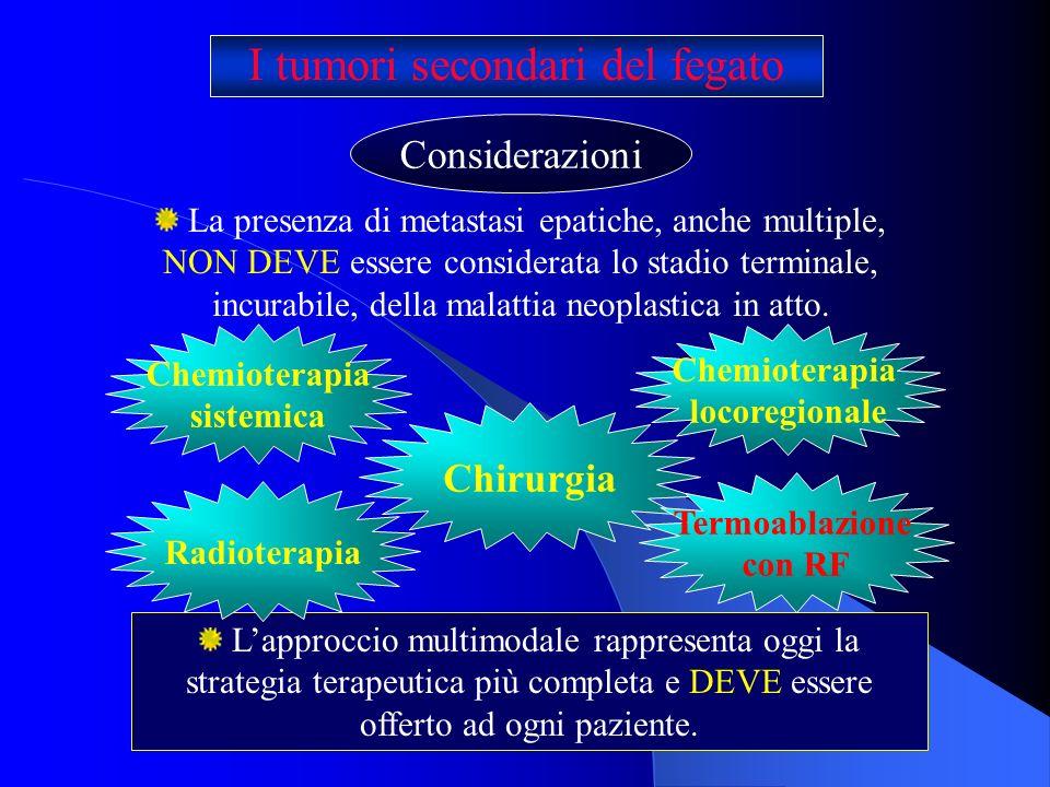 I tumori secondari del fegato Considerazioni La presenza di metastasi epatiche, anche multiple, NON DEVE essere considerata lo stadio terminale, incur