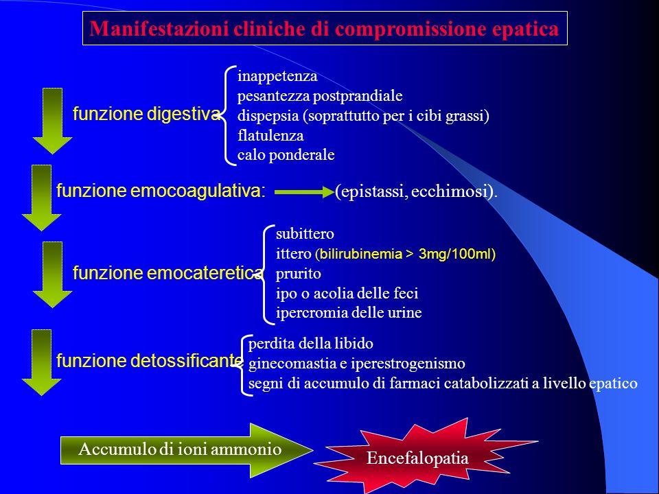 Manifestazioni cliniche di compromissione epatica funzione emocoagulativa: (epistassi, ecchimosi). perdita della libido ginecomastia e iperestrogenism