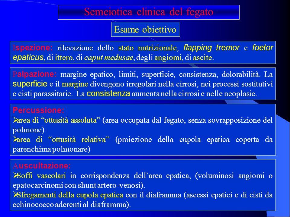congestione venosa (scompenso congestizio, pericardite costrittiva, insufficienza tricuspidale, ostruzione della vena cava inferiore o sdr di Budd-Chiari); processi degenerativi (cirrosi, epatiti chimiche o farmacologiche) malattie da accumulo (steatosi, lamiloidosi, lemocromatosi) infezioni (virali, batteriche, protozoarie) ostruzione delle vie biliari TUMORI PRIMITIVI E SECONDARI Aumento della pressione venosa portale Ipoalbuminemia Trasudazione epatica di linfa varici esofagee varici emorroidarie varici sottocutanee nella regione ombelicale squilibrio idroelettrolitico (iperaldosteronismo secondario) Ascite Ipertensione portale Epatomegalia
