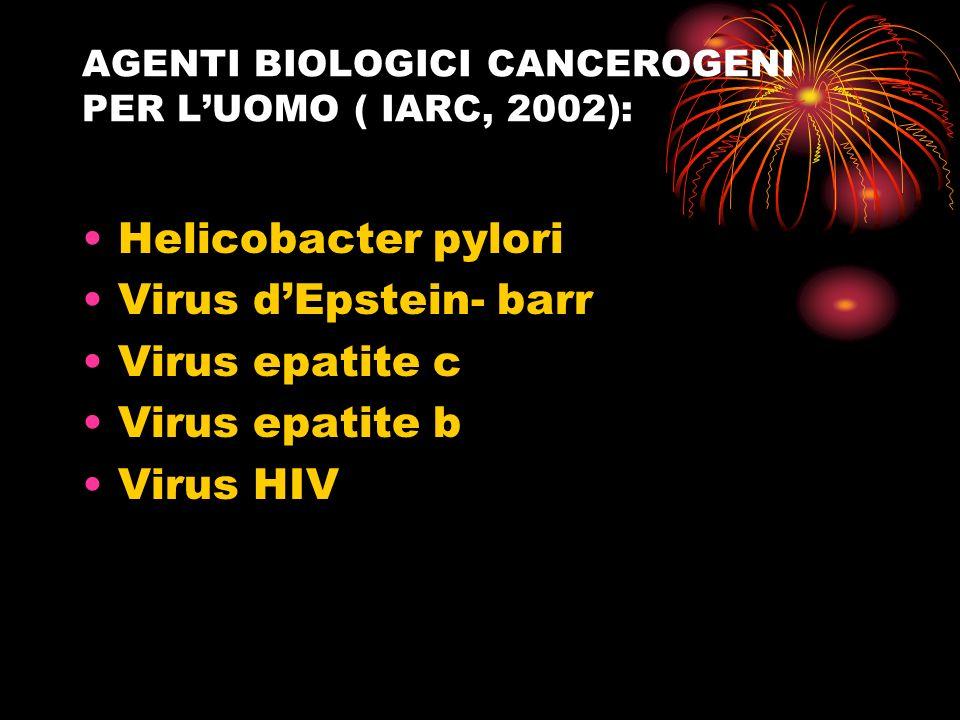 AGENTI BIOLOGICI CANCEROGENI PER LUOMO ( IARC, 2002): Helicobacter pylori Virus dEpstein- barr Virus epatite c Virus epatite b Virus HIV