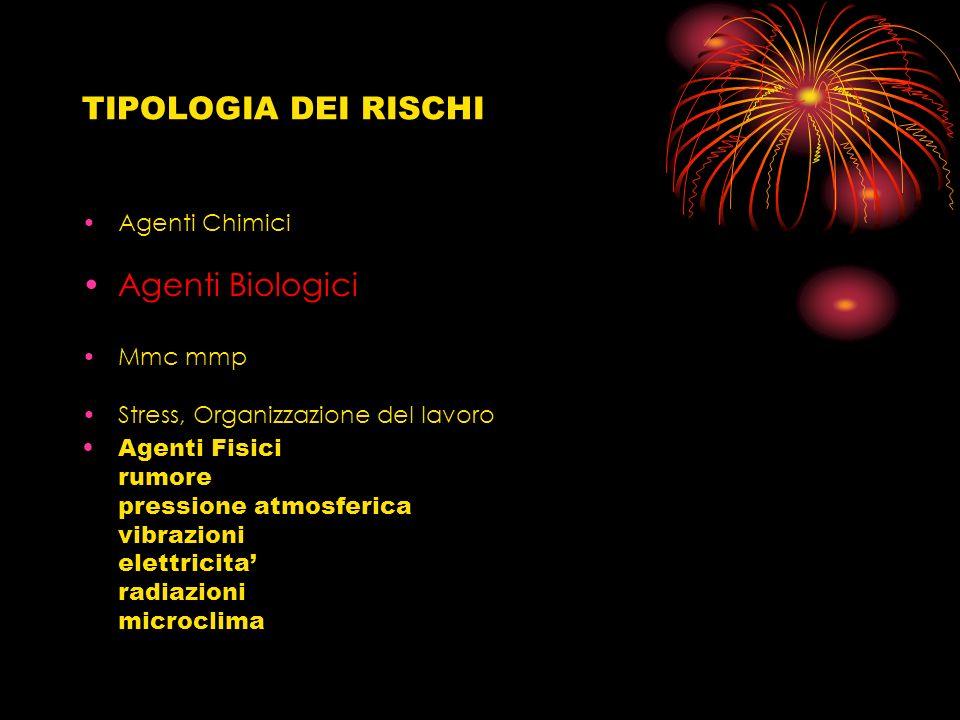 TIPOLOGIA DEI RISCHI Agenti Chimici Agenti Biologici Mmc mmp Stress, Organizzazione del lavoro Agenti Fisici rumore pressione atmosferica vibrazioni e