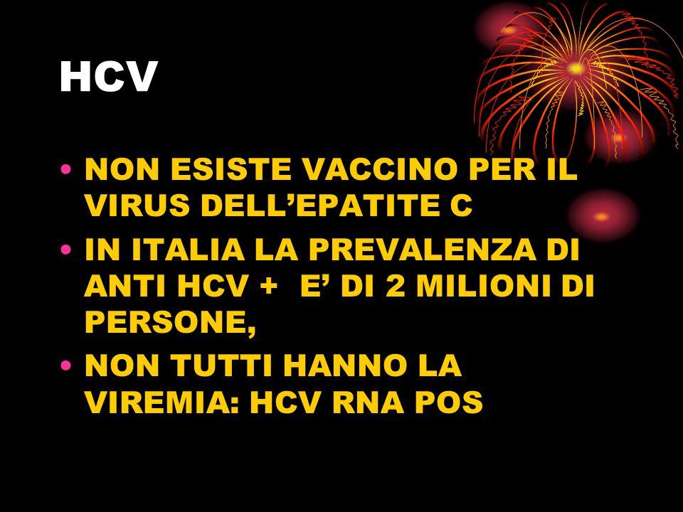 HCV NON ESISTE VACCINO PER IL VIRUS DELLEPATITE C IN ITALIA LA PREVALENZA DI ANTI HCV + E DI 2 MILIONI DI PERSONE, NON TUTTI HANNO LA VIREMIA: HCV RNA