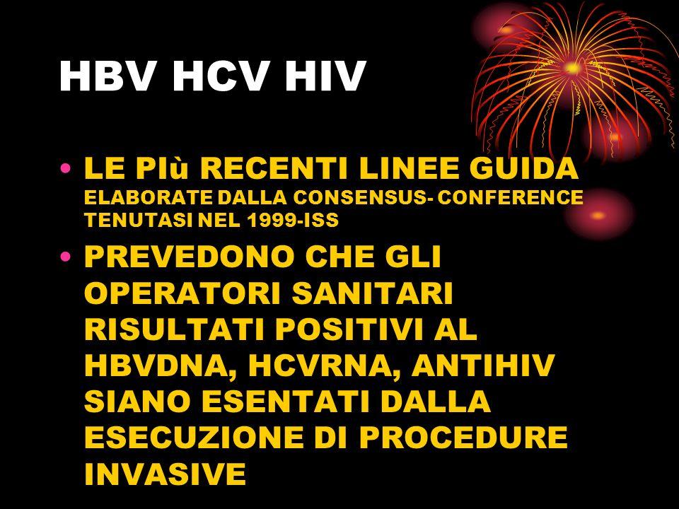 HBV HCV HIV LE PIù RECENTI LINEE GUIDA ELABORATE DALLA CONSENSUS- CONFERENCE TENUTASI NEL 1999-ISS PREVEDONO CHE GLI OPERATORI SANITARI RISULTATI POSI