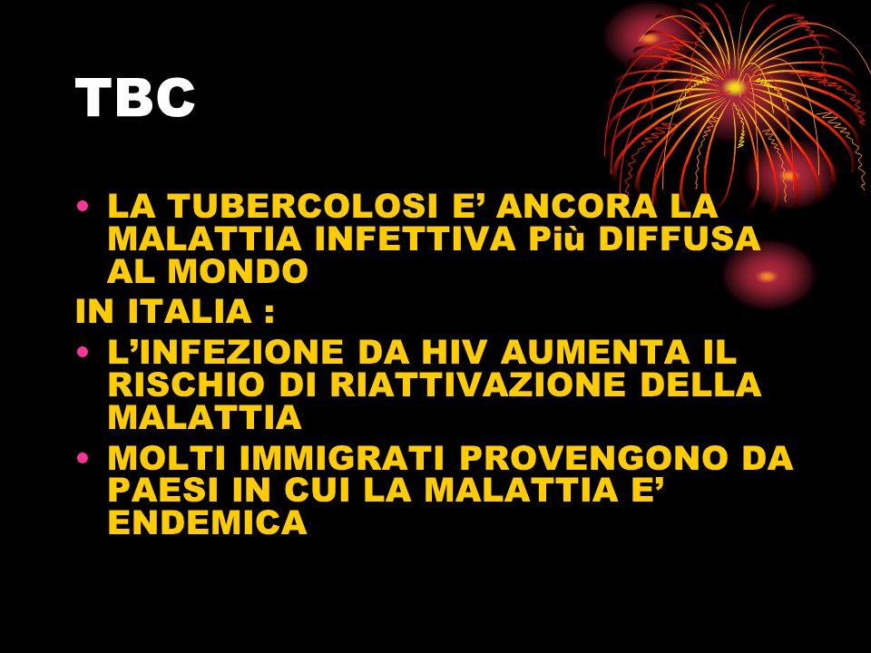 TBC LA TUBERCOLOSI E ANCORA LA MALATTIA INFETTIVA Più DIFFUSA AL MONDO IN ITALIA : LINFEZIONE DA HIV AUMENTA IL RISCHIO DI RIATTIVAZIONE DELLA MALATTI