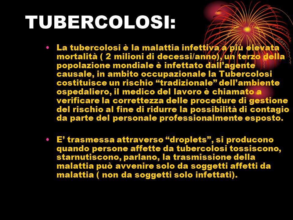 TUBERCOLOSI: La tubercolosi è la malattia infettiva a più elevata mortalità ( 2 milioni di decessi/anno), un terzo della popolazione mondiale è infett