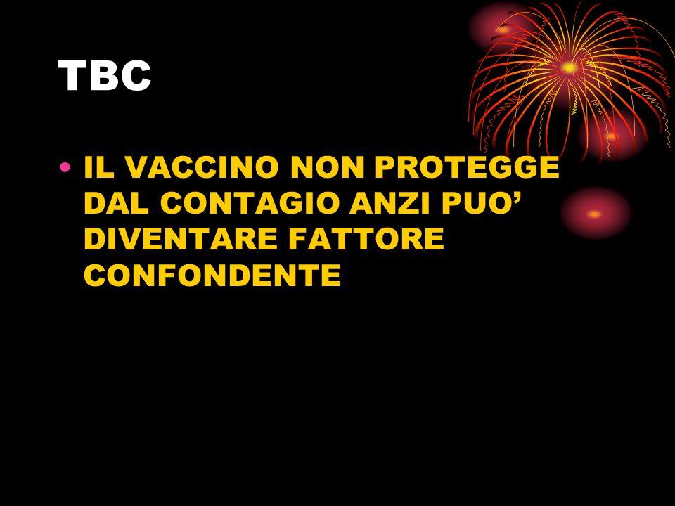 TBC IL VACCINO NON PROTEGGE DAL CONTAGIO ANZI PUO DIVENTARE FATTORE CONFONDENTE