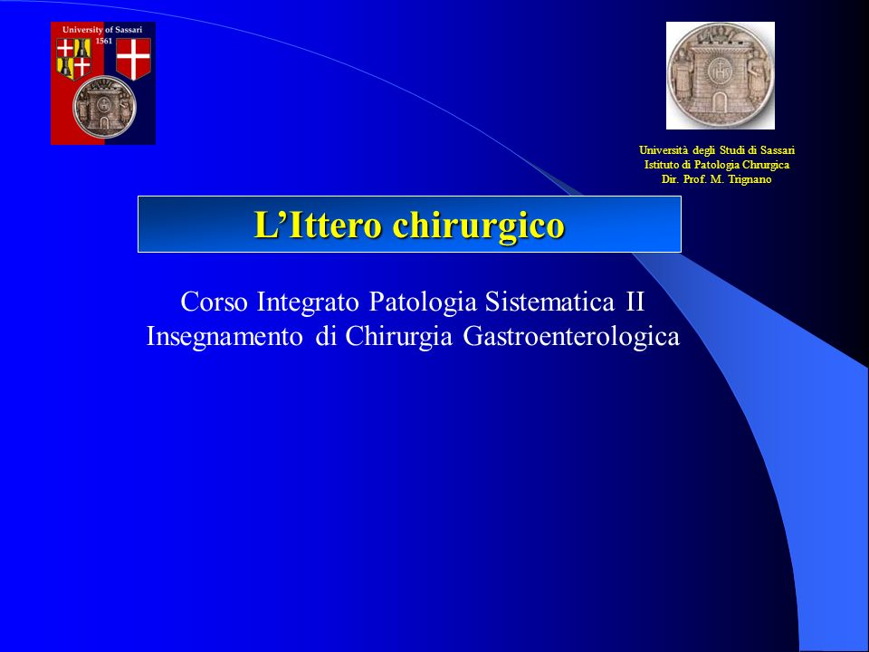 LIttero chirurgico Università degli Studi di Sassari Istituto di Patologia Chrurgica Dir. Prof. M. Trignano Corso Integrato Patologia Sistematica II I