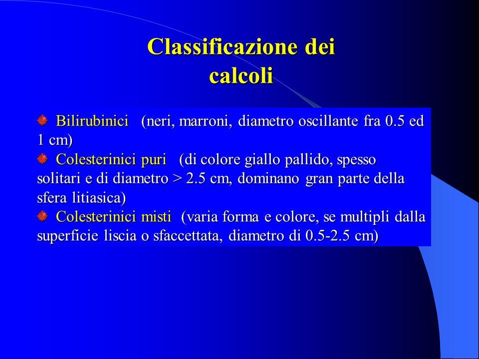 Bilirubinici (neri, marroni, diametro oscillante fra 0.5 ed 1 cm) Bilirubinici (neri, marroni, diametro oscillante fra 0.5 ed 1 cm) Colesterinici puri