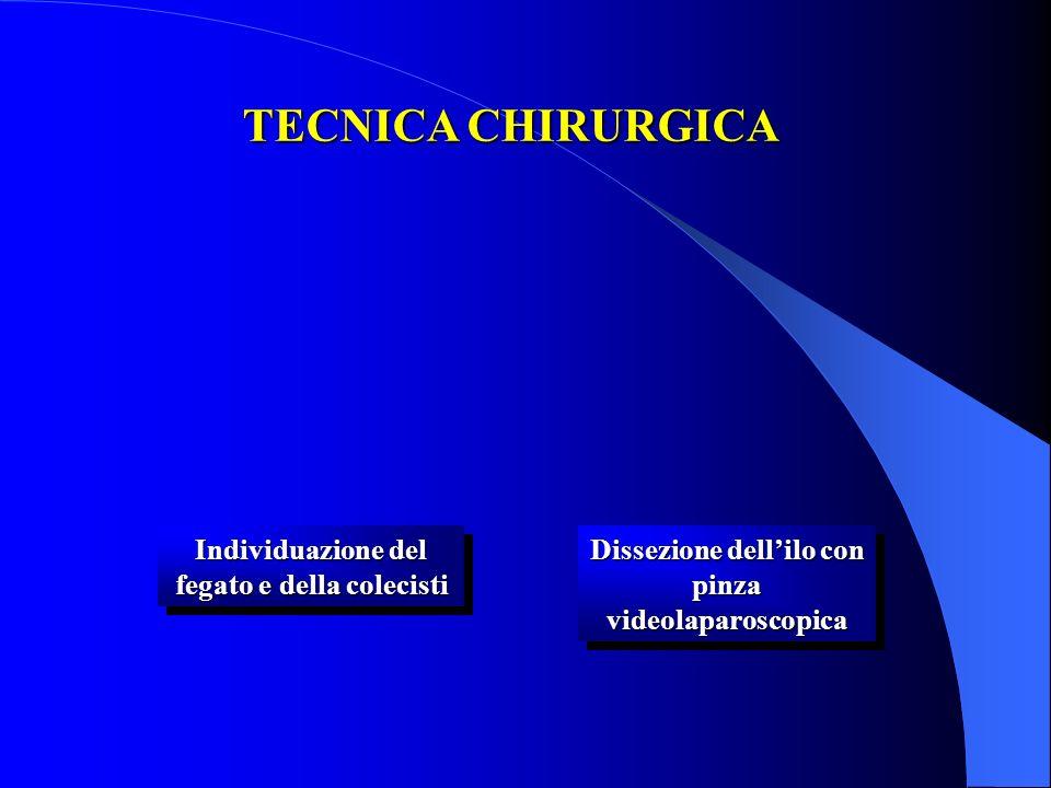 Individuazione del fegato e della colecisti Dissezione dellilo con pinza videolaparoscopica TECNICA CHIRURGICA