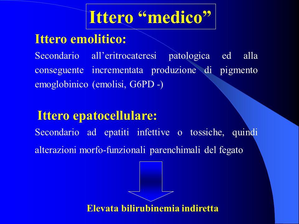 Ittero emolitico: Secondario alleritrocateresi patologica ed alla conseguente incrementata produzione di pigmento emoglobinico (emolisi, G6PD -) Itter