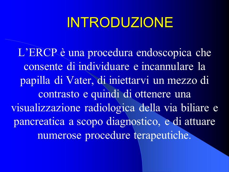 INTRODUZIONE LERCP è una procedura endoscopica che consente di individuare e incannulare la papilla di Vater, di iniettarvi un mezzo di contrasto e qu
