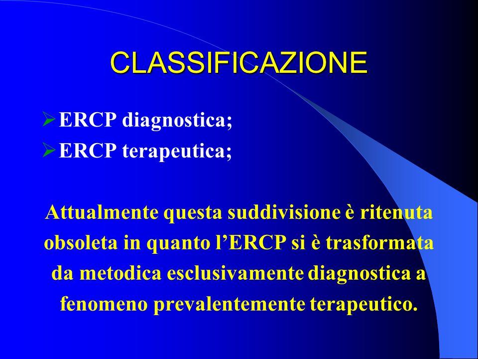 CLASSIFICAZIONE ERCP diagnostica; ERCP terapeutica; Attualmente questa suddivisione è ritenuta obsoleta in quanto lERCP si è trasformata da metodica e