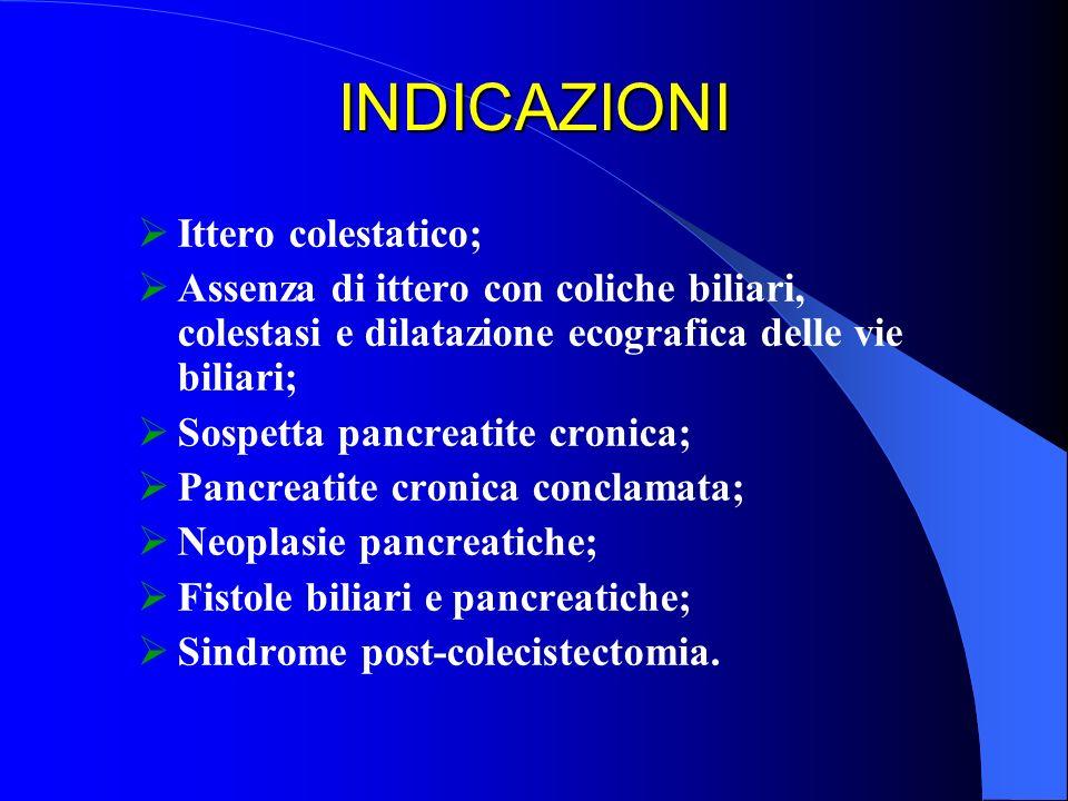 INDICAZIONI Ittero colestatico; Assenza di ittero con coliche biliari, colestasi e dilatazione ecografica delle vie biliari; Sospetta pancreatite cron