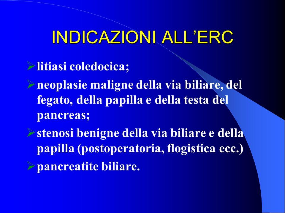 INDICAZIONI ALLERC litiasi coledocica; neoplasie maligne della via biliare, del fegato, della papilla e della testa del pancreas; stenosi benigne dell