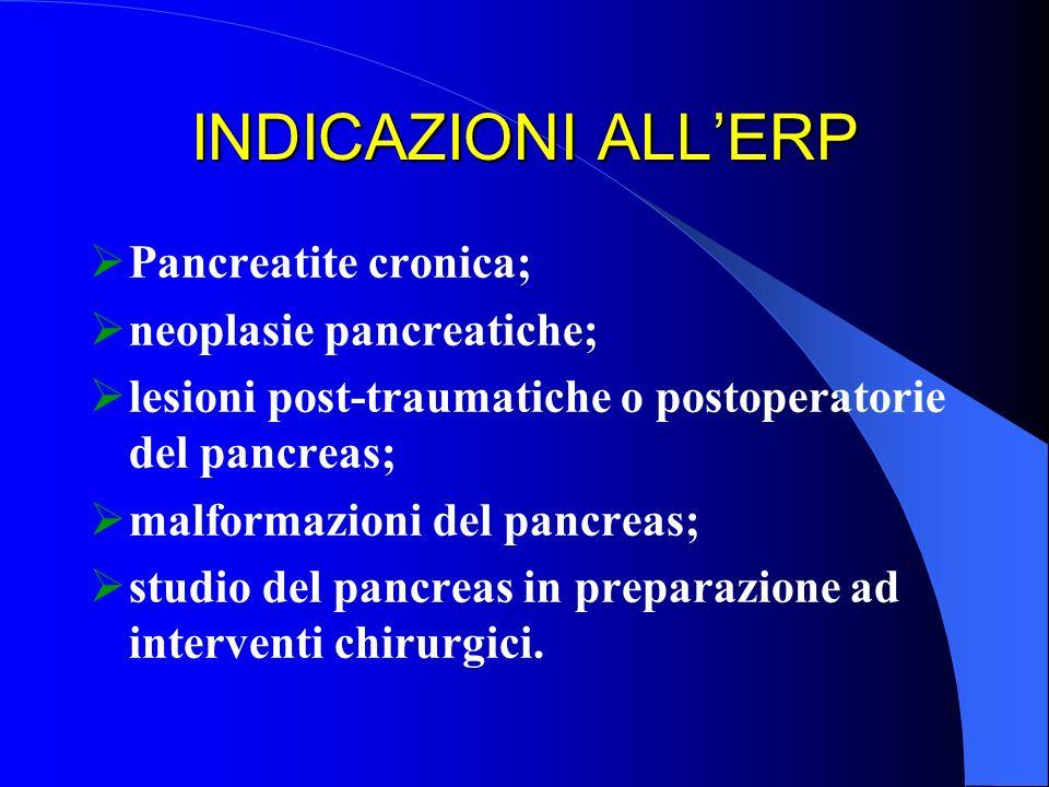 INDICAZIONI ALLERP Pancreatite cronica; neoplasie pancreatiche; lesioni post-traumatiche o postoperatorie del pancreas; malformazioni del pancreas; st