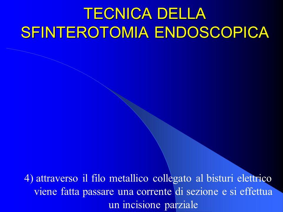 TECNICA DELLA SFINTEROTOMIA ENDOSCOPICA 4) attraverso il filo metallico collegato al bisturi elettrico viene fatta passare una corrente di sezione e s
