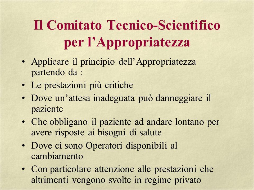 Il Comitato Tecnico-Scientifico per lAppropriatezza Applicare il principio dellAppropriatezza partendo da : Le prestazioni più critiche Dove unattesa