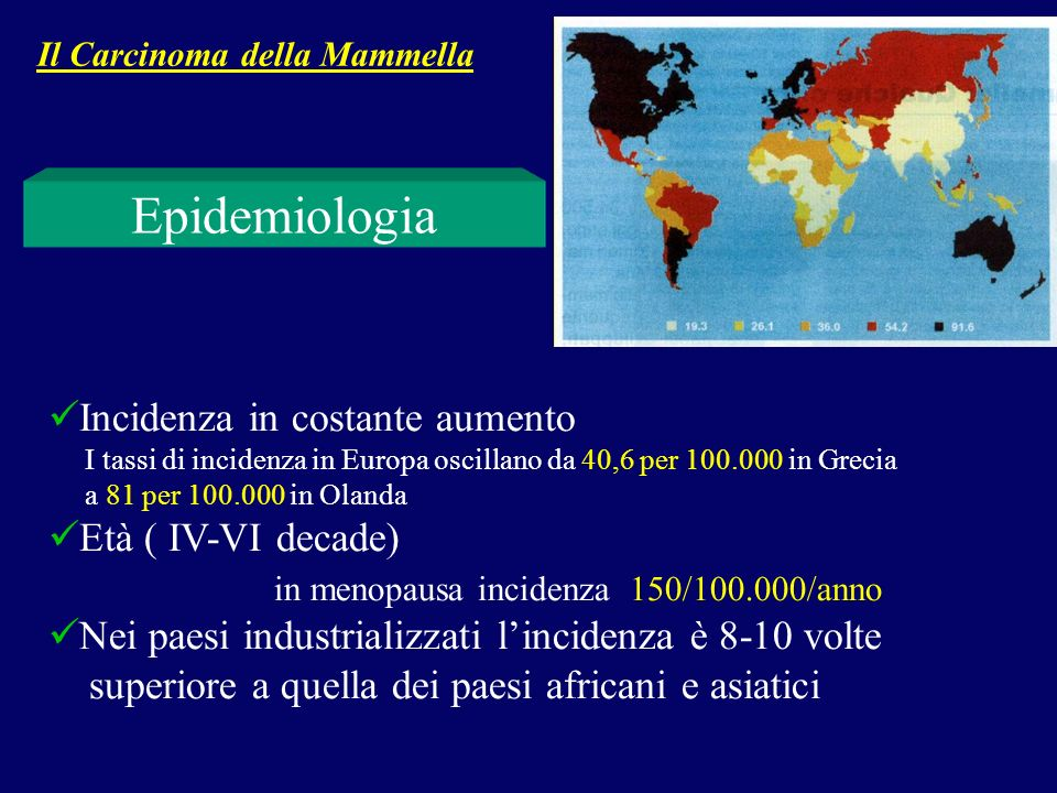 Rappresenta lo 0,8- 1,2 % di tutti i tumori mammari E più frequente nelle popolazioni africane Il carcinoma della mammella nelluomo Fattori di rischio Iperestrogenismo Danno epatico Radiazioni ionizzanti Il Carcinoma della Mammella