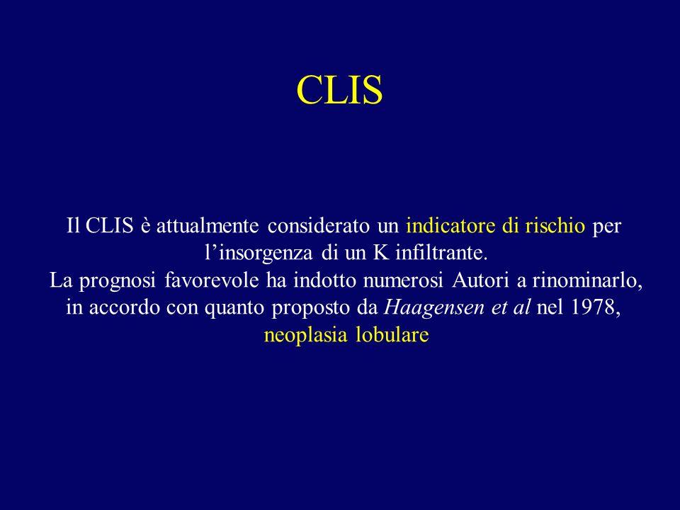 CLIS Il CLIS è attualmente considerato un indicatore di rischio per linsorgenza di un K infiltrante. La prognosi favorevole ha indotto numerosi Autori