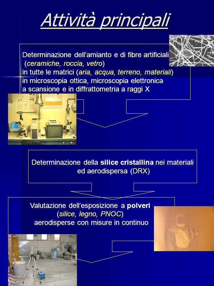 Attività principali Determinazione dellamianto e di fibre artificiali (ceramiche, roccia, vetro) in tutte le matrici (aria, acqua, terreno, materiali)