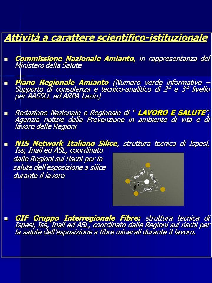 Attività a carattere scientifico-istituzionale Commissione Nazionale Amianto, in rappresentanza del Ministero della Salute Commissione Nazionale Amian