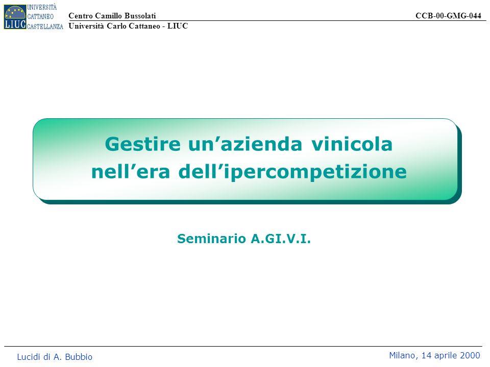Centro Camillo Bussolati CCB-00-GMG-044 Università Carlo Cattaneo - LIUC Lucidi di A. Bubbio Milano, 14 aprile 2000 Seminario A.GI.V.I. Gestire unazie