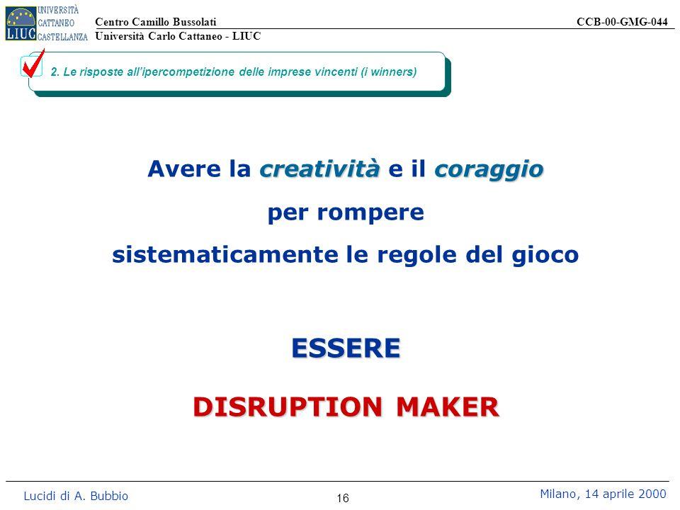 Centro Camillo Bussolati CCB-00-GMG-044 Università Carlo Cattaneo - LIUC Lucidi di A. Bubbio Milano, 14 aprile 2000 16 2. Le risposte allipercompetizi