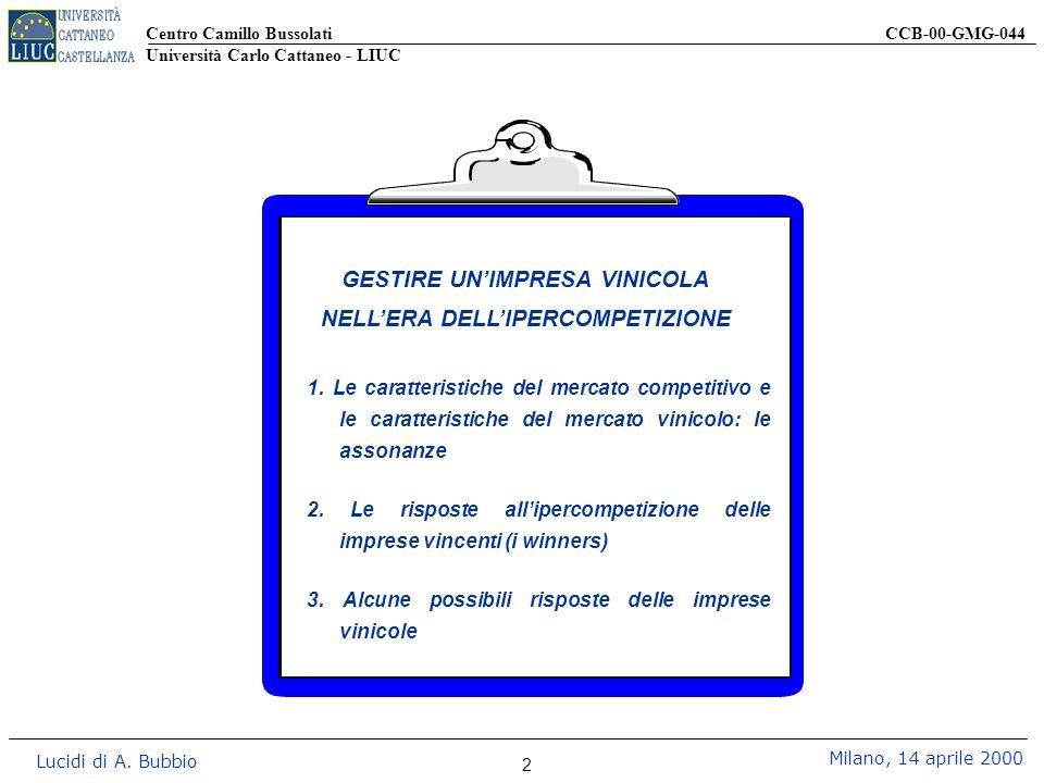 Centro Camillo Bussolati CCB-00-GMG-044 Università Carlo Cattaneo - LIUC Lucidi di A. Bubbio Milano, 14 aprile 2000 2 1. Le caratteristiche del mercat