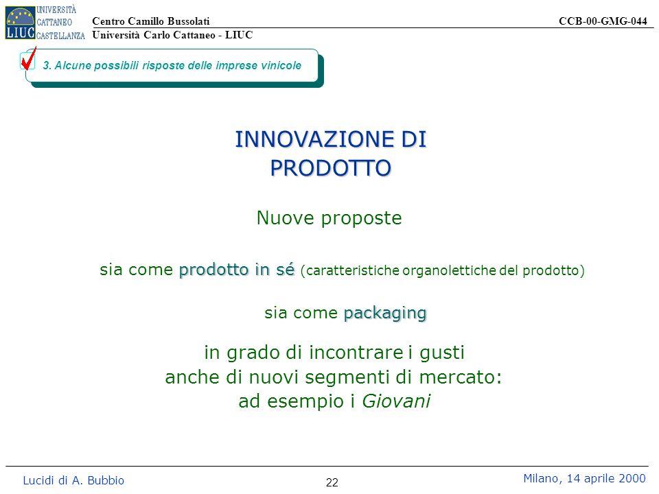 Centro Camillo Bussolati CCB-00-GMG-044 Università Carlo Cattaneo - LIUC Lucidi di A. Bubbio Milano, 14 aprile 2000 22 3. Alcune possibili risposte de