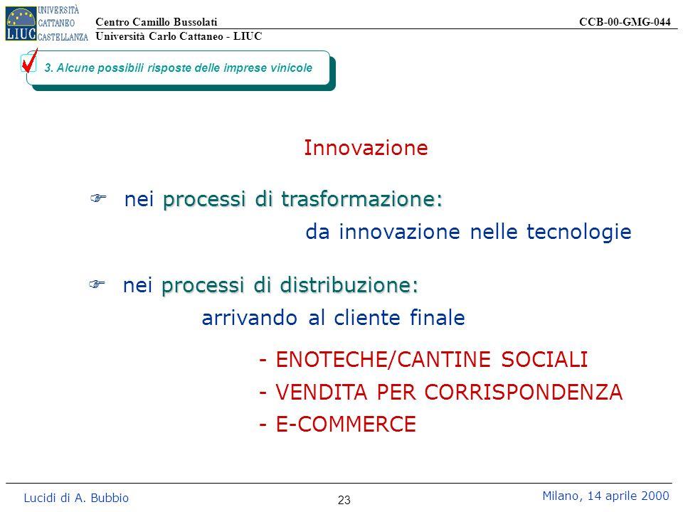 Centro Camillo Bussolati CCB-00-GMG-044 Università Carlo Cattaneo - LIUC Lucidi di A. Bubbio Milano, 14 aprile 2000 23 3. Alcune possibili risposte de