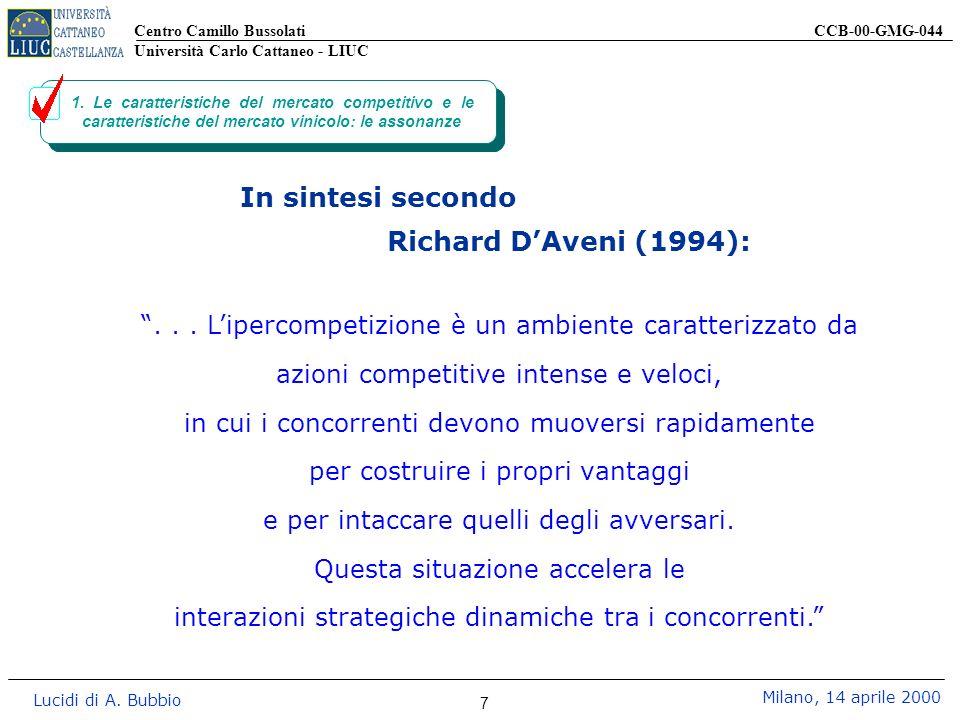 Centro Camillo Bussolati CCB-00-GMG-044 Università Carlo Cattaneo - LIUC Lucidi di A. Bubbio Milano, 14 aprile 2000 7 1. Le caratteristiche del mercat