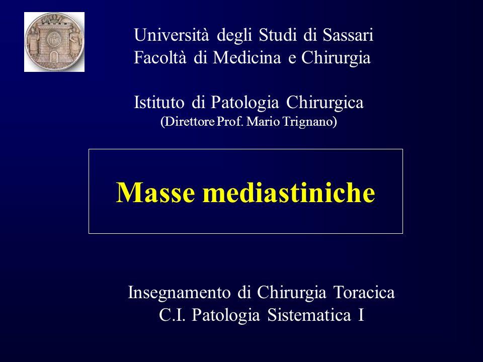 Masse mediastiniche Università degli Studi di Sassari Facoltà di Medicina e Chirurgia Istituto di Patologia Chirurgica (Direttore Prof.