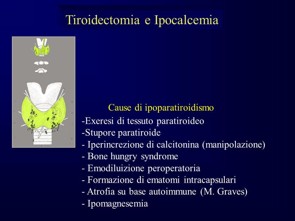 -Exeresi di tessuto paratiroideo -Stupore paratiroide - Iperincrezione di calcitonina (manipolazione) - Bone hungry syndrome - Emodiluizione peroperatoria - Formazione di ematomi intracapsulari - Atrofia su base autoimmune (M.