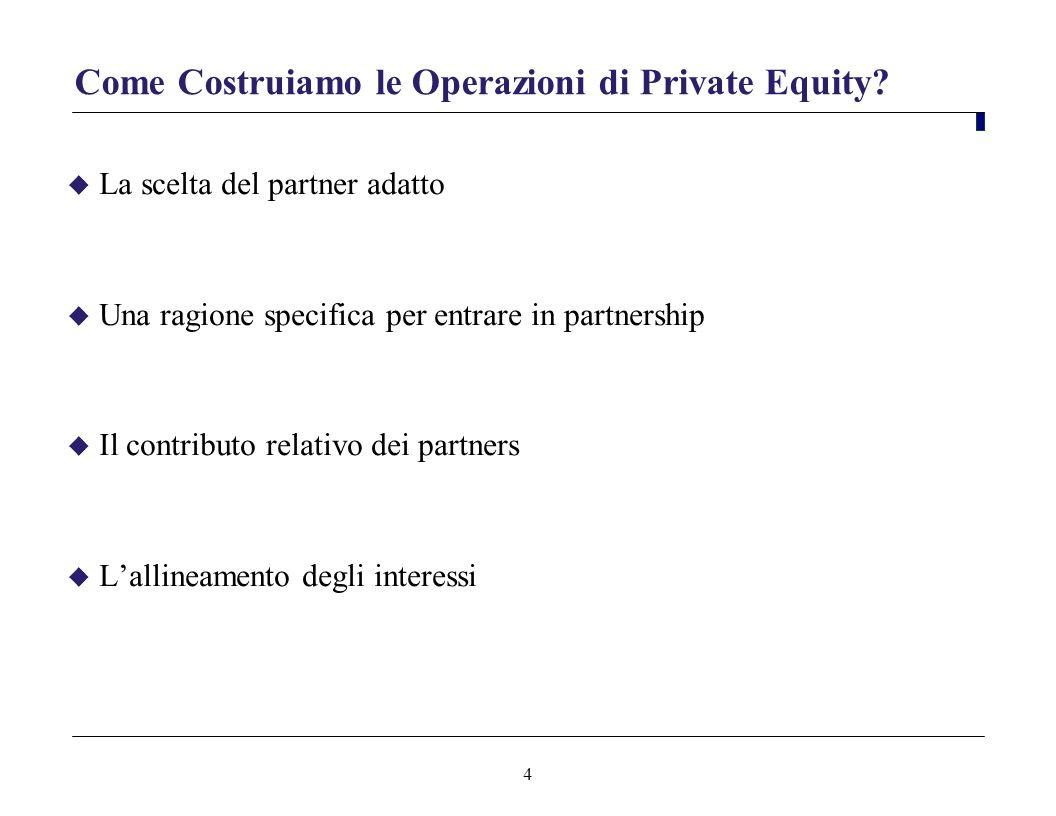 4 Come Costruiamo le Operazioni di Private Equity? La scelta del partner adatto Una ragione specifica per entrare in partnership Il contributo relativ