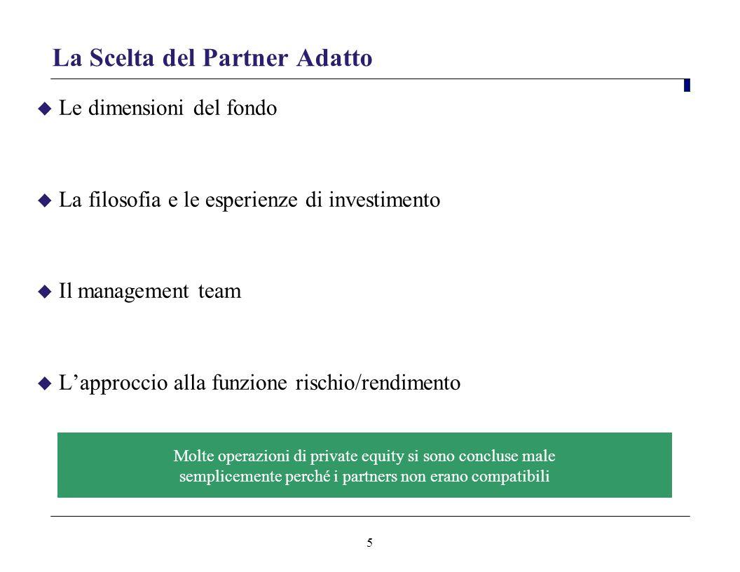 5 La Scelta del Partner Adatto Le dimensioni del fondo La filosofia e le esperienze di investimento Il management team Lapproccio alla funzione rischi