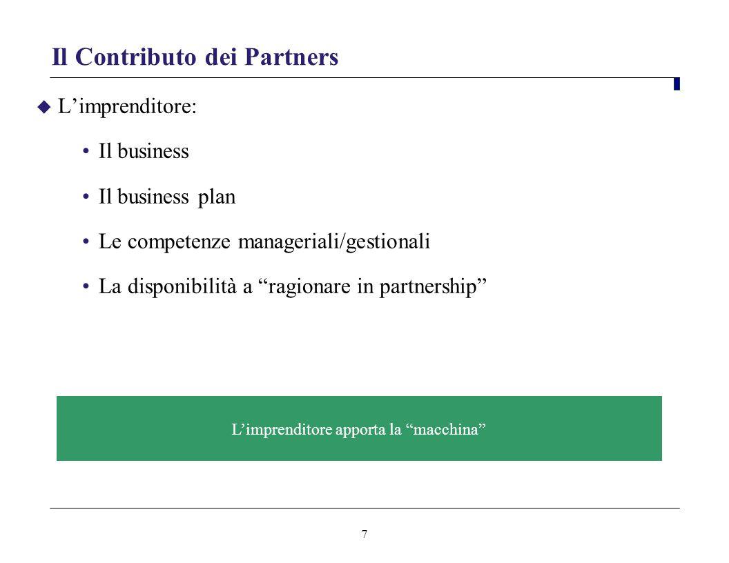 7 Il Contributo dei Partners Limprenditore: Il business Il business plan Le competenze manageriali/gestionali La disponibilità a ragionare in partners