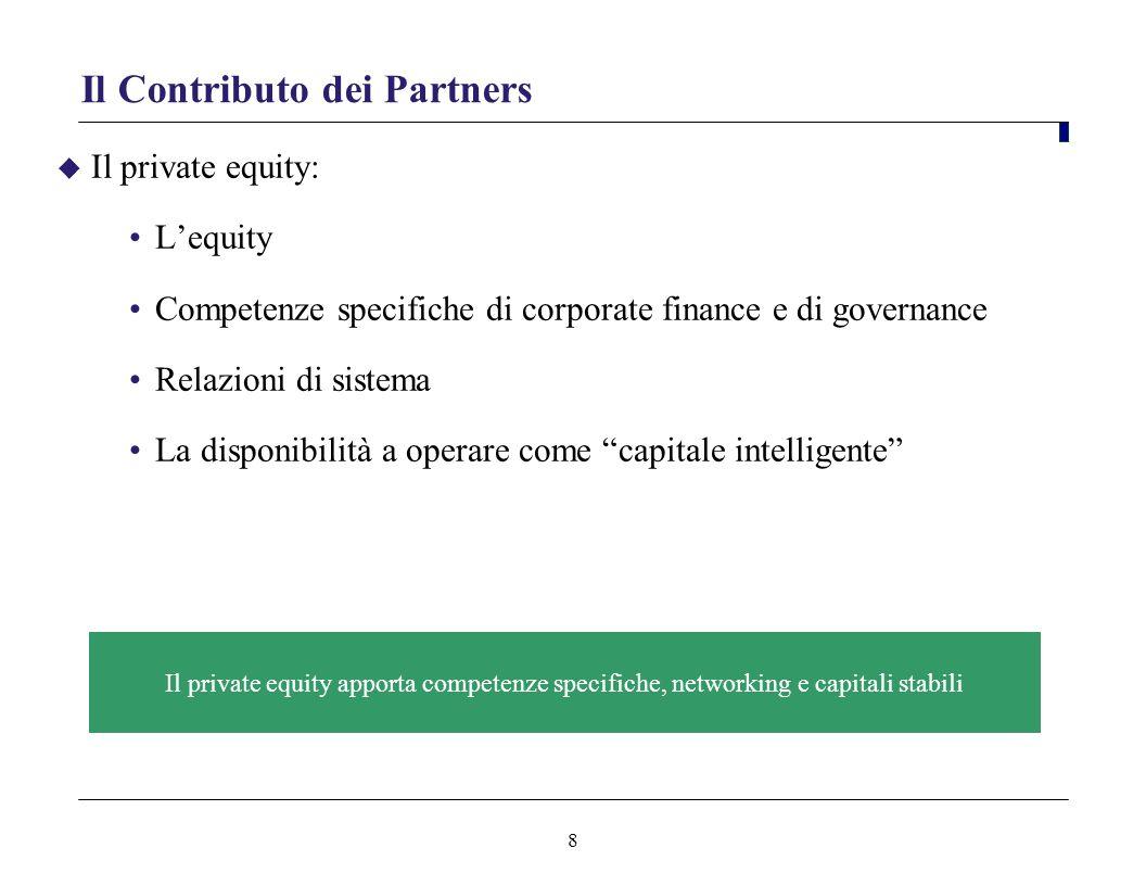 8 Il Contributo dei Partners Il private equity: Lequity Competenze specifiche di corporate finance e di governance Relazioni di sistema La disponibili