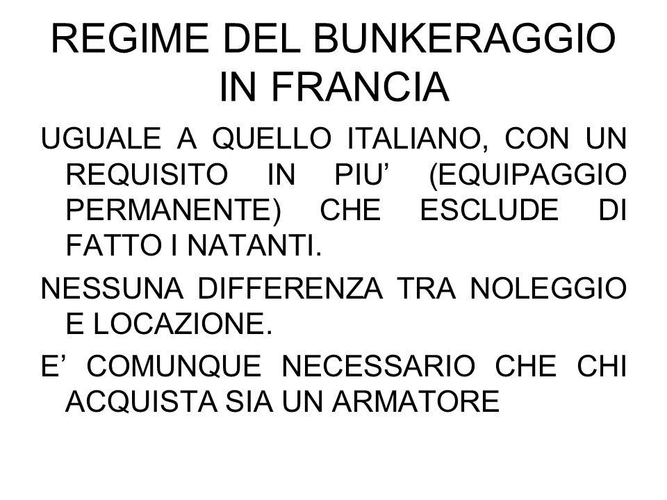 REGIME DEL BUNKERAGGIO IN FRANCIA UGUALE A QUELLO ITALIANO, CON UN REQUISITO IN PIU (EQUIPAGGIO PERMANENTE) CHE ESCLUDE DI FATTO I NATANTI. NESSUNA DI