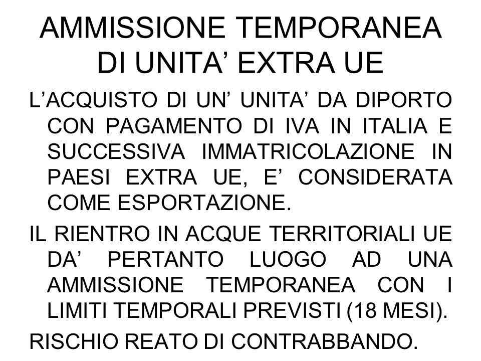 AMMISSIONE TEMPORANEA DI UNITA EXTRA UE LACQUISTO DI UN UNITA DA DIPORTO CON PAGAMENTO DI IVA IN ITALIA E SUCCESSIVA IMMATRICOLAZIONE IN PAESI EXTRA U
