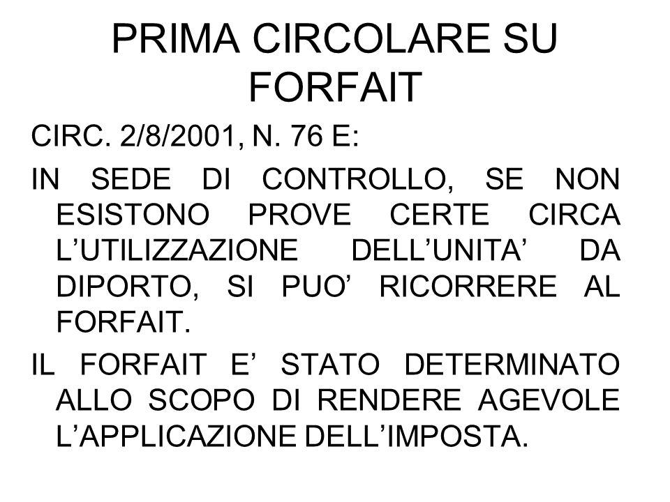 PRIMA CIRCOLARE SU FORFAIT CIRC. 2/8/2001, N. 76 E: IN SEDE DI CONTROLLO, SE NON ESISTONO PROVE CERTE CIRCA LUTILIZZAZIONE DELLUNITA DA DIPORTO, SI PU