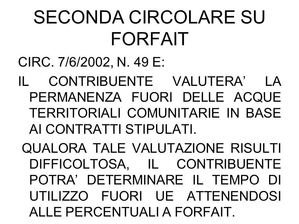 SECONDA CIRCOLARE SU FORFAIT CIRC. 7/6/2002, N. 49 E: IL CONTRIBUENTE VALUTERA LA PERMANENZA FUORI DELLE ACQUE TERRITORIALI COMUNITARIE IN BASE AI CON