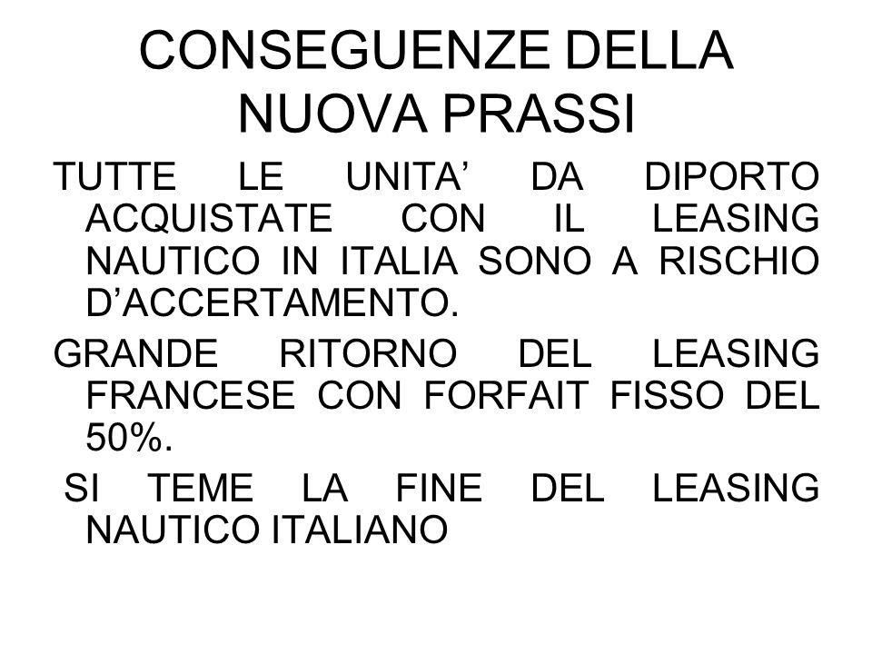 CONSEGUENZE DELLA NUOVA PRASSI TUTTE LE UNITA DA DIPORTO ACQUISTATE CON IL LEASING NAUTICO IN ITALIA SONO A RISCHIO DACCERTAMENTO. GRANDE RITORNO DEL