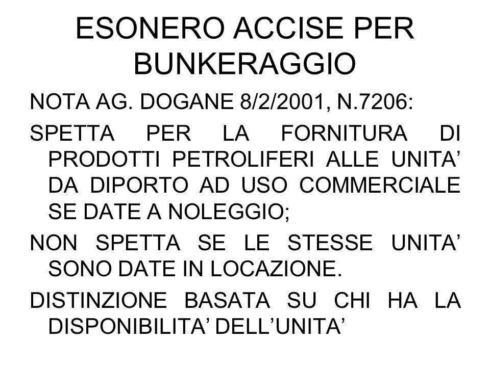 ESONERO ACCISE PER BUNKERAGGIO NOTA AG. DOGANE 8/2/2001, N.7206: SPETTA PER LA FORNITURA DI PRODOTTI PETROLIFERI ALLE UNITA DA DIPORTO AD USO COMMERCI