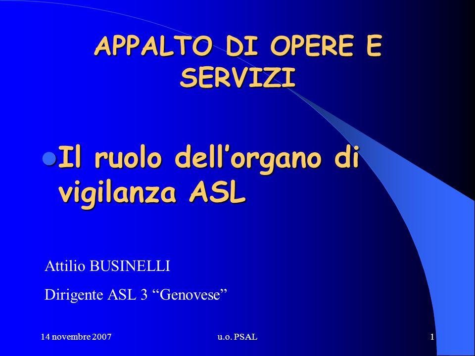 14 novembre 2007u.o. PSAL1 APPALTO DI OPERE E SERVIZI Il ruolo dellorgano di vigilanza ASL Il ruolo dellorgano di vigilanza ASL Attilio BUSINELLI Diri