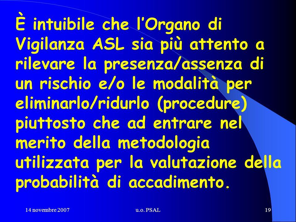 14 novembre 2007u.o. PSAL19 È intuibile che lOrgano di Vigilanza ASL sia più attento a rilevare la presenza/assenza di un rischio e/o le modalità per